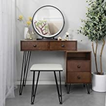 Vanity Desk Set with Makeup Lighted Mirror and Stool, Bedroom Wood Dressing Table with 4 Large Drawers & Cabinet for Woman...