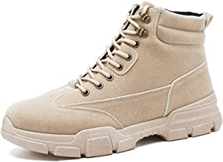 XueQing Pan Combat Boots for Men Work High Top Shoes Round Toe Lace up Studded Stitch Short Tube Comfort Lining Suede Upper Non-Slip (Color : Beige, Size : 7.5 UK)