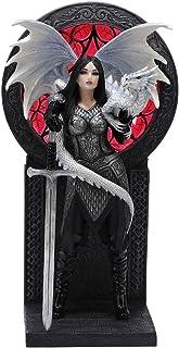 Veronese Design 9.5 Inch Anne Stokes Valour Dragon Gothic Female Warrior Polyresin Hand Painted Figurine Sculpture