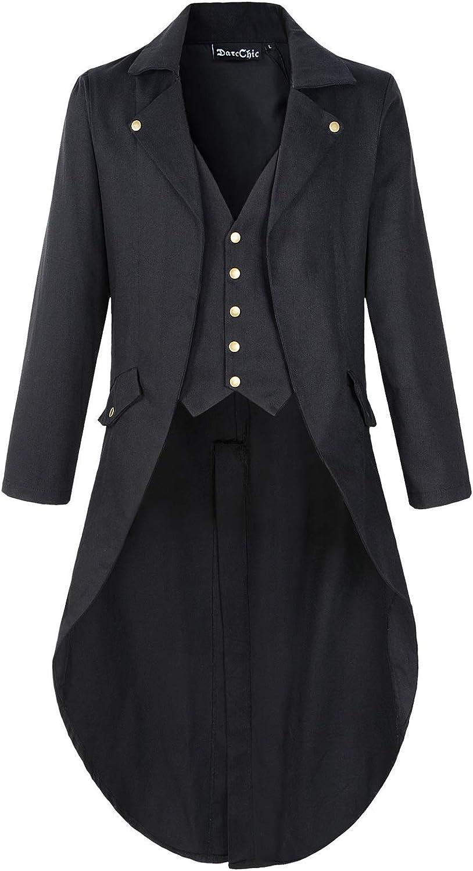 Mens Gothic Tailcoat Jacket Black Steampunk VTG Victorian Coat
