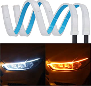 2Pcs 24 Inches DRL LED Light Strip, YANF Car Flexible Daytime Running Lights Dual Color White-Amber Sequence LED Strip Tube Switchback Headlight & Turn Signal Lights Tube Fit for Any 12V Cars
