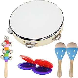 EAPTS Wooden Musical Toys 2 Maracas 1 Tambourine 2 Castanets 1 Hand Bell for Toddler Kids