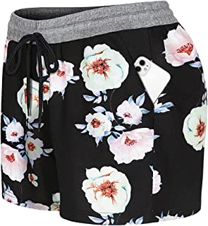 Vindery Elastic Waist Comfy Floral Casual Lounge Pajama Shorts with Pockets
