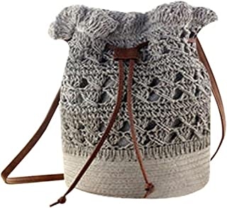 Donalworld Women Bucket Bag Drawstring Hobo Crochet Straw Shoulder Bag