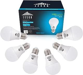 Leson A19 LED Light Bulb Standard E26/E27 Base 9W Energy Saving, Equivalent to 75 Watt Incandescent Bulbs, 1125lm Daylight Cool White 6500k (6 Pack)