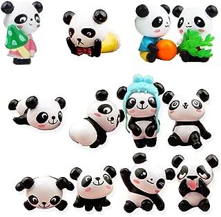 QTFHR 12 pcs (1 set) Cute Pandas Toys Figurines Playset, Cake Decoration