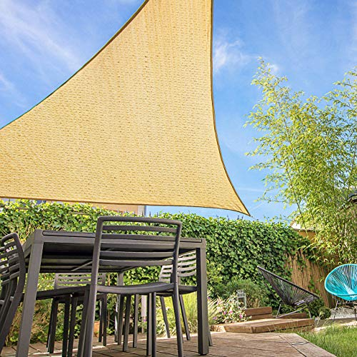 Homitt 12' x 12' x 12' Sun Shade Sail, UV Block Sand Triangle Shade Sail Canopy Awning, Durable Shade Cover for Kids Play Area Patio Deck Porch Garden Yard Vehicle Tub BBQ Pets Plants, Ropes Included