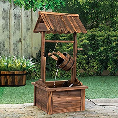 Worldrich 44-Inch Outdoor Garden Rustic Wood Wishing Well Water Fountain with Pump