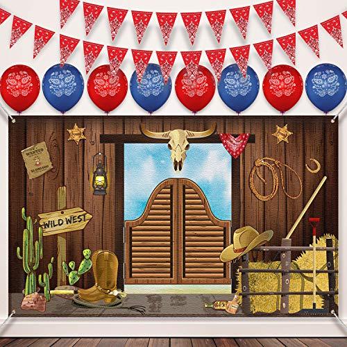 Western Party Banner Hintergrund, 40 Stücke Bandana Western Cowboy Luftballons 5 Packungen Bandana Wimpel Banner für Western Cowboy Thema Party Lieferungen Dekorationen