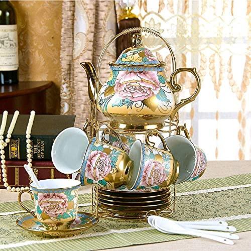 14-piece Teapot Cups Set Coffee Service, Chinese Flower PatternTea Pot Kettle Ceramic Household Coffee Set Tea,Tea Set Afternoon Tea Piece Ceramic For Wedding
