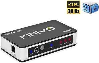 Kinivo 301BN 3-Port High Speed 4K 30Hz HDMI Switch With IR Wireless Remote(Renewed)