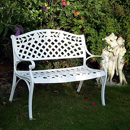 Lazy Susan Rose Metal Garden Bench, 2-Seater in White , Weatherproof Aluminium Garden Bench | Garden | Cast aluminium | Rust Proof | Easy Assembly | For All Weather Conditions, 103x60x85, 12 Month Warranty