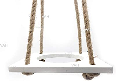 VAH Hanging Planter Shelf Plant Hanger Decorative Flower Pot Rack with Rope Home Decor (1 Pot White Planter)