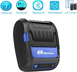 Mobile Thermal Label/Receipt Printer, Meihengtong Handheld 2 Inches 58mm Mini Portable Bluetooth 4.0 Label Printer Wireless with Rechargeable Battery, Compatible with Android/iOS, 2 Rolls Paper Inside