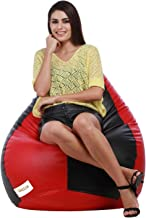 COMFORT BEAN BAGS Leather Without Bean Bag (XXL, Red and Black)