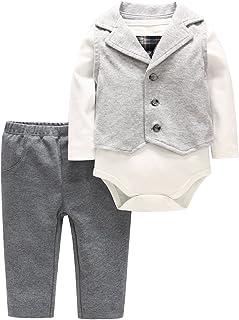 Minizone Baby Jungen Gentleman Outifit 3 Stück Langarm Strampler  Hosen  Weste Kleidung Set 0-18 Monate