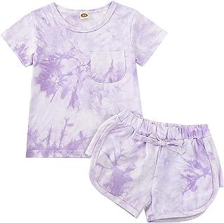 أزياء الصيف الجديدة للأطفال البنات لطيف التعادل صبغ تي شيرت الأعلى وسراويل قصيرة برباط