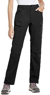 BALEAF Women's Hiking Pants UPF 50 Outdoor Athletic Stretch Pants Water Resistant Zipper Pockets Black M