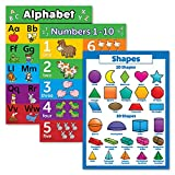 3 Pack - ABC Alphabet + Numbers 1-10 + 3D Shapes Poster Set - Toddler Educational Charts (LAMINATED, 18' x...
