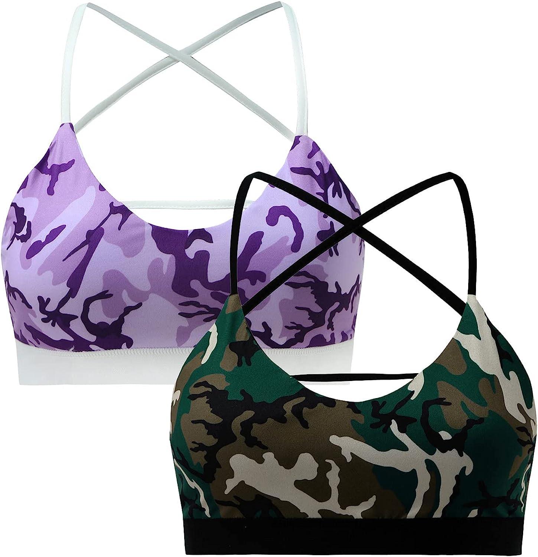 2PC Women Cami with Built in Bra Racerback Strap Workout Sport Yoga Underwear Bras Lingerie Fashion Push Up Bra
