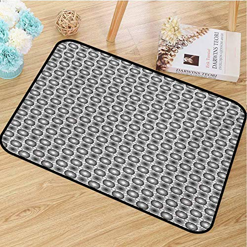 hengshu Black and White Inlet Outdoor Door mat Monochrome Geometric Mosaic with Circles Ring Shapes Simple Minimalist Catch dust Snow and mud W47.2 x L60 Inch Black White