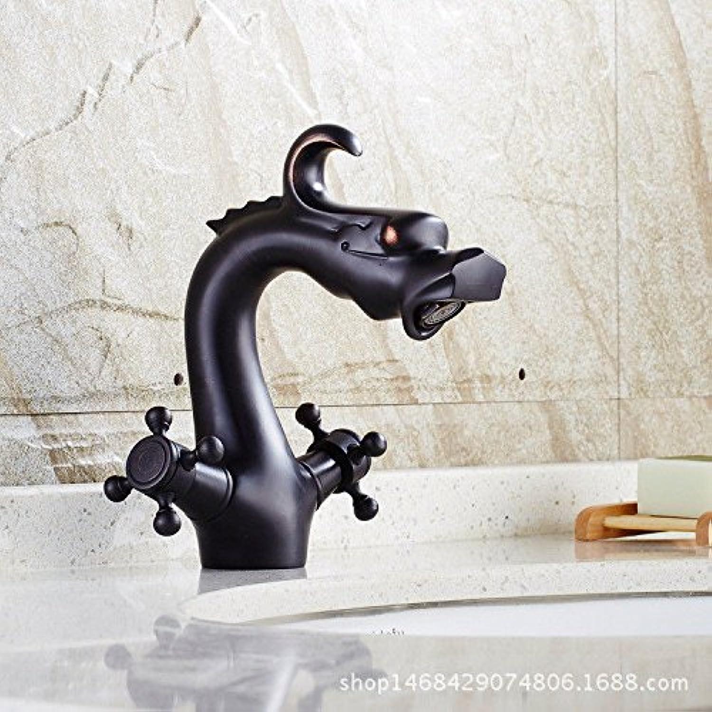 Fbict Sink Faucet European Copper Faucet Bathroom hot and Cold Double Basin Basin Faucet Black Antique Faucet Mixing Faucet for Kitchen Bathroom Faucet Bid Tap