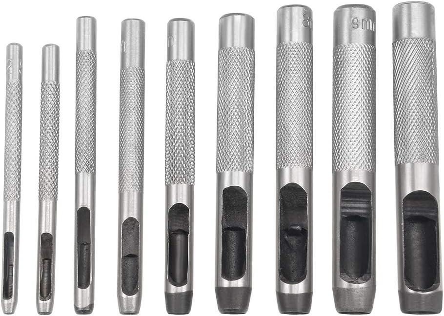 tessuto Sourcingmap per pelle Set di 15 perforatori rotondi in acciaio da 3 mm a 25 mm tela scarpe cinturino per orologio cintura di guarnizione
