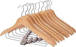 木製スーツハンガー クリップ付きハンガー 10本セット スーツ ジャケット コート用 手作 天然高級木 (ナチュラル 10)
