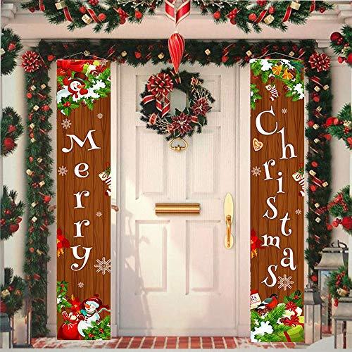 Sunwuun Cartel de Navidad para porche de feliz Navidad, decoración de puerta de Navidad para interior y exterior (marrón) ⭐