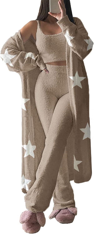 Women's Fuzzy Over item National uniform free shipping handling ☆ 3 Piece Sweatsuit Open Front Cardigan Tank To Crop