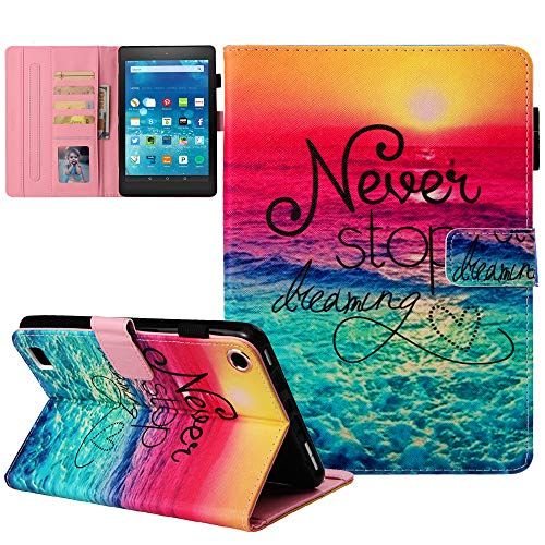 """Kindle fire 7 Case - JZCreater Slim Fit Leather Standing Protective Cover for Amazon Fire 7 Tablet (Fire 7"""" Display 5th/7th/9th Generation - 2015/2017/2019 Release Only), Dreams"""