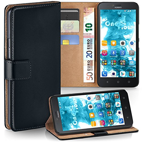 OneFlow Bolso Funda Huawei Y625 Cubierta con Tarjetero | Estuche Flip Case Funda móvil Plegable | Bolso móvil Funda Protectora Accesorios móvil protección paragolpes en Deep-Black