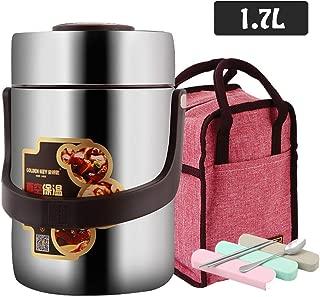 ホットフードとコールドフード用真空断熱フードフラスコ、BPAフリー、スプーン付きのステンレス製フードコンテナーと2つのコンパートメントランチボックス、1.7L、バッグ付き