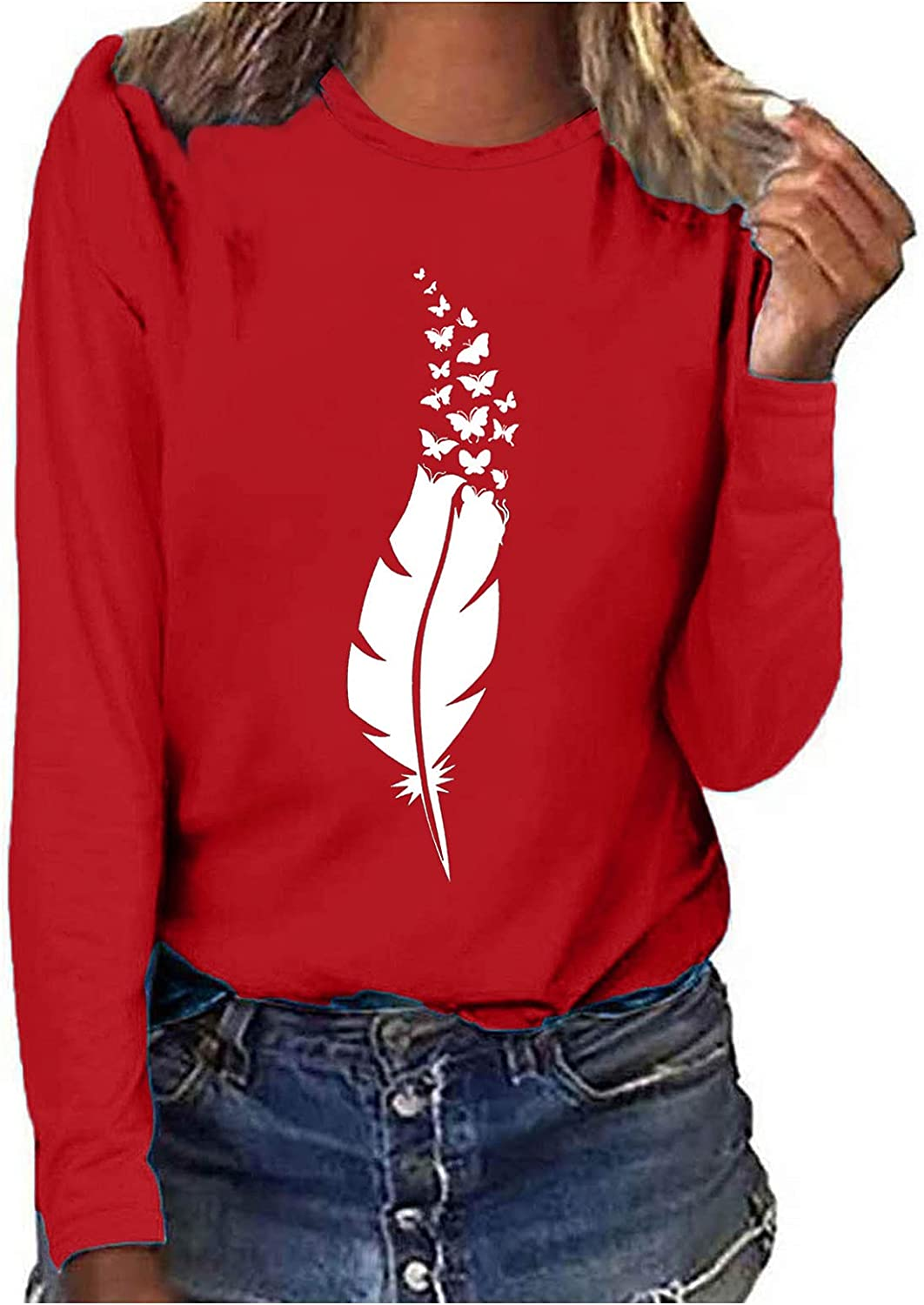 FABIURT Cute Sweatshirts for Women, Womens Casual Feather Printed Long Sleeve Pullover Blouses Crewneck Graphic Sweaters