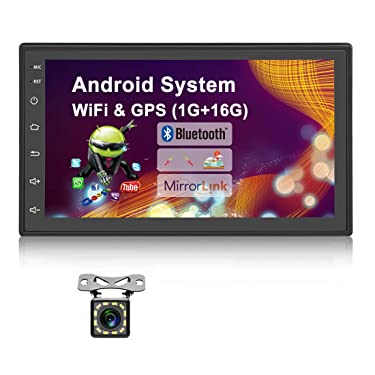 UNITOPSCI 7 Inch Android Car Stereo Double Din GPS Navigation Stereo Car Radio with WiFi Bluetooth HD Touch Screen 12 LEDs Backup Camera, FM Radio Receiver, Support Dual USB/SWC/Mirror Link MP5 Player