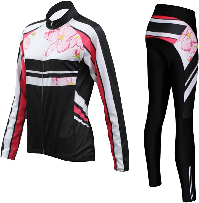 Women's Spring Floral Print Long Sleeve Top Pants Cycling Riding Clothing Set