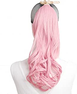MapofBeauty 2 Pack Curly Ponytail Long Wavy Hair Fashion Hair Accessories (Light Pink)