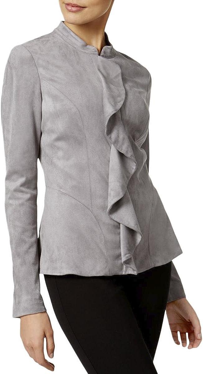 ALFANI $149 Womens New 1646 Gray Ruffled Zip Up Casual Jacket XXL B+B