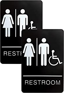 Unisex Men And Women Handicapped Bathroom And Restroom Signs - ADA Approved Public And Private Indoor Outdoor Areas With Raised Tactile Braille Writing System (2 Pack, Unisex Handicapped)
