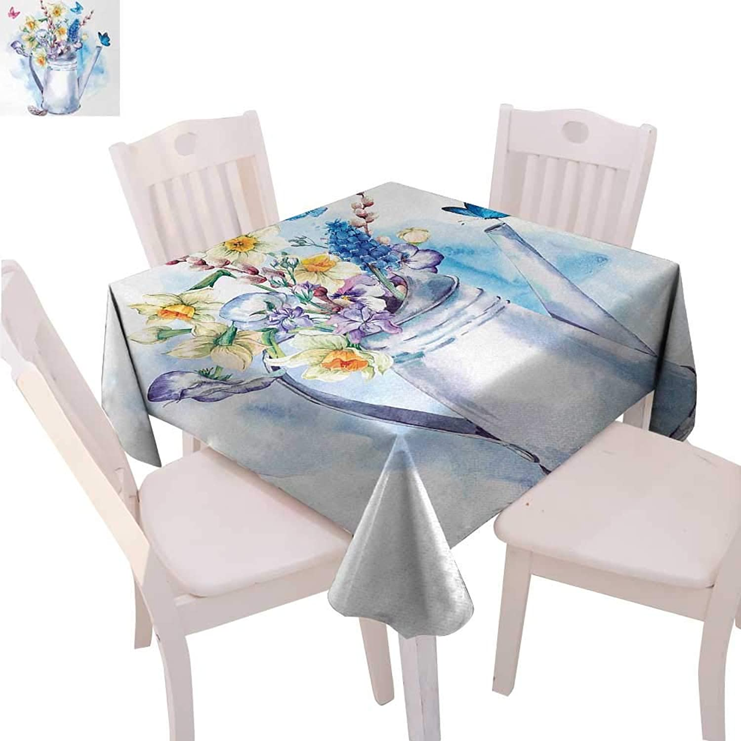 CobeDecor Daffodil Washable Tablecloth Summer Bouquet with purples PussWillows and Butterflies in OldFashion Watering Can Waterproof Tablecloths 70 x70  Multi