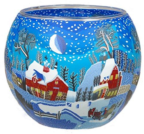Himmlische Düfte Geschenkartikel GmbH Winternacht in Canada Windlicht, Glas, bunt, 11x11x9 cm