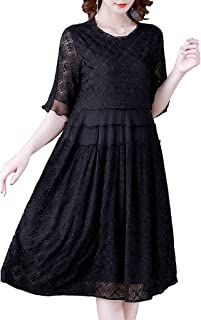 Women's Summer Short Sleeve Casual Dresses Loose Comfy Swing Dress غير رسمي (Color : Black, Size : 3XL)