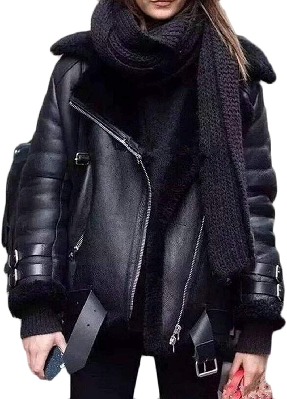 Agana Womens Winter Lapel Sherpa Lined PU Leather Oblique Zipper Parka Coat