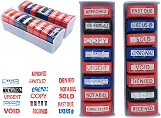 Home Office Business Rubber Stamp  16 Set Self- Inking   NOT A Bill, Approved, Received, Void, Sold, Past Due, Like US @, Denied, NONNEGOTIABLE, Draft, Urgent, Copy, Cancelled, Original, Paid, FAXED.