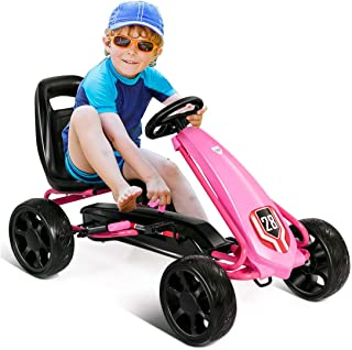 Costzon Pedal Go Kart, Pedal Powered Kids Ride on Car Toy, Children's 4 Wheels Riding Car Crazy Cart w/ Adjustable Seat, Foot Pedal, for Boys & Girls Age 3 to 8 Years Old, Indoor & Outdoor (Pink)