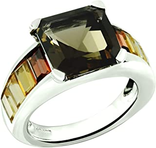 RB Gems Sterling Silver 925 Ring Genuine Gems Square Emerald Cut 10 mm, Rhodium-Plated, Channel-Setting