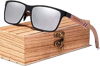 Óculos de Sol de Madeira Masculino Polarizado Kingseven W5507 Lente Prata Cor:Prata
