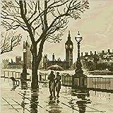 Londres en la lluvia Cruz Kit para punto, hilos de algodón de Egipto 14ct, Kits de punto cruz de 43x43cm Kits de punto cruz