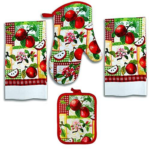 Lobyn Value Packs 4 Pack Kitchen Linens Lightweight Decorative Kitchen Towel Oven Mitt & Potholder (Apple)