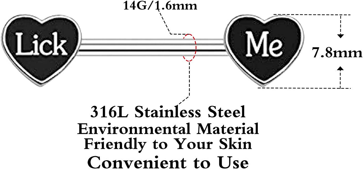 CHARMM Nipple Ring Piercing Enamel Red Heart Carved with Fuck Me 14 Gauge Surgical Stainless Steel Barbell Nipple Rings for Women Men (Lick ME(Black))
